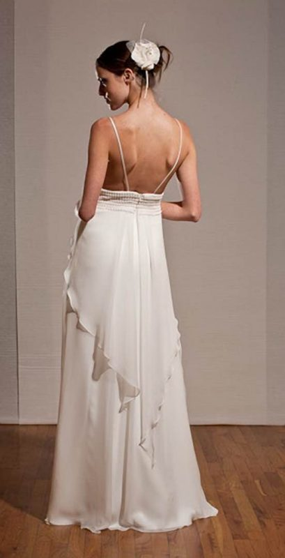 Angelo Lambrou Couture Gown Deco Pearl White Back