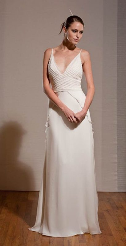 Angelo Lambrou Couture Gown Deco Pearl White Front