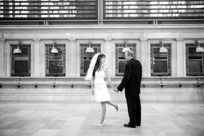 Angelo Lambrou Couture Real Bride Mindy Grand Central Holding Hands