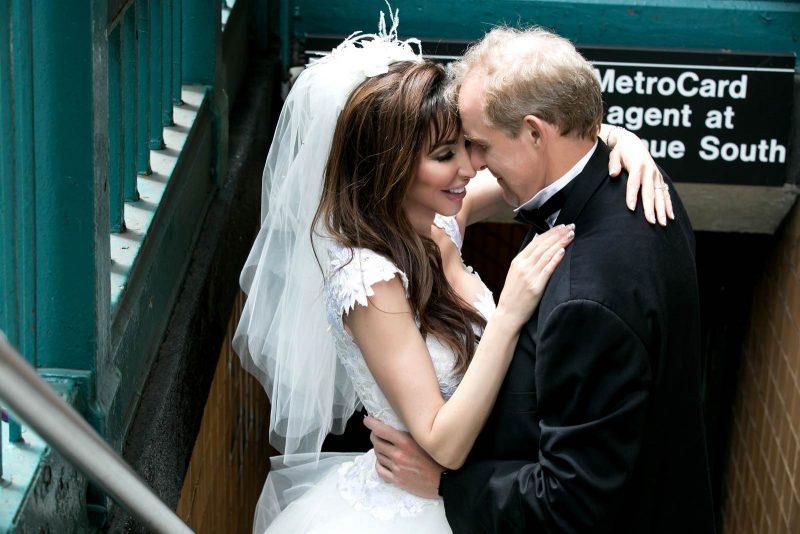 Angelo Lambrou Couture Real Bride Mindy Subway Entrance