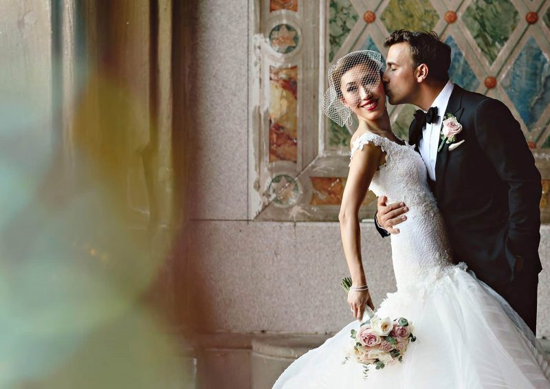 Angelo Lambrou Real Bride Central Park Boathouse Kiss