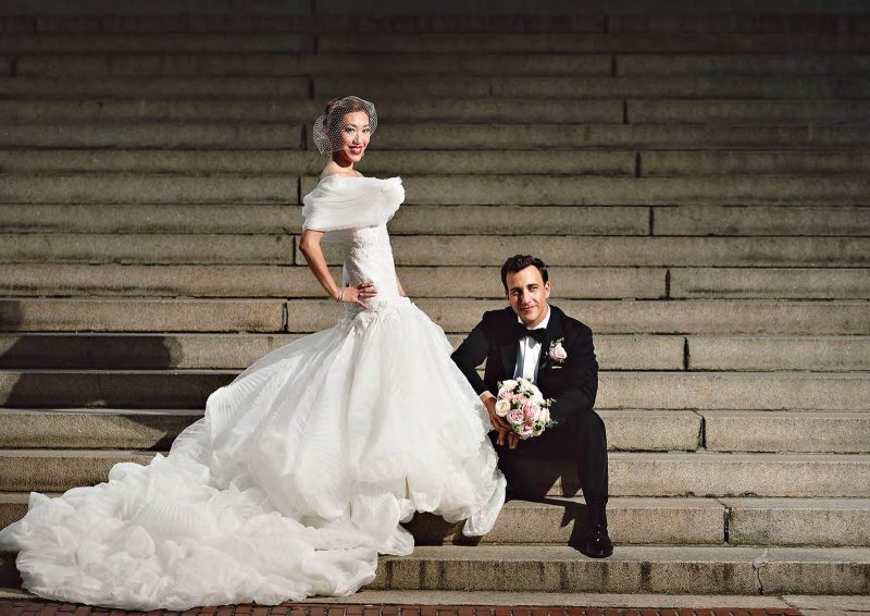 Angelo Lambrou Real Bride Central Park Boathouse Stairs